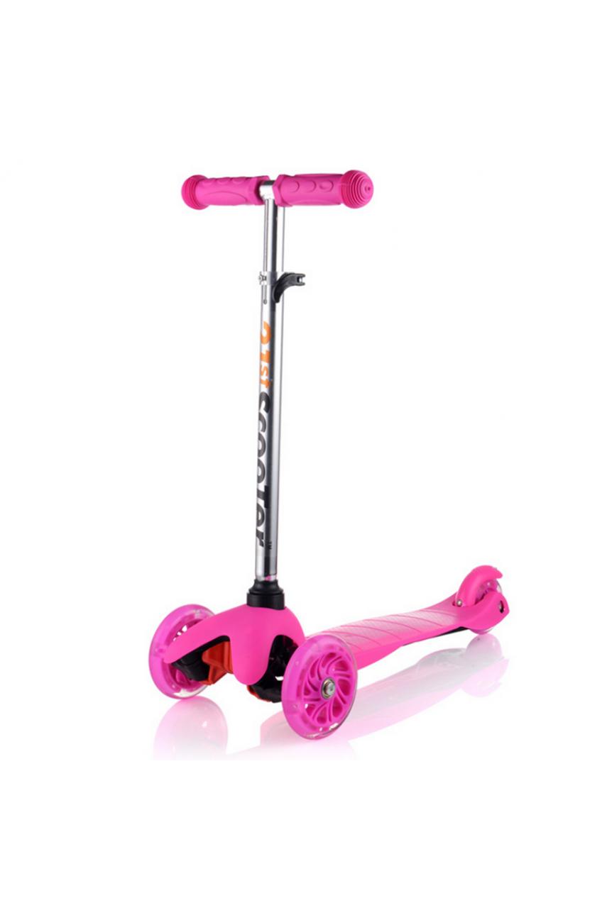 Детский трехколесный самокат 21 st scooter mini светятся колеса