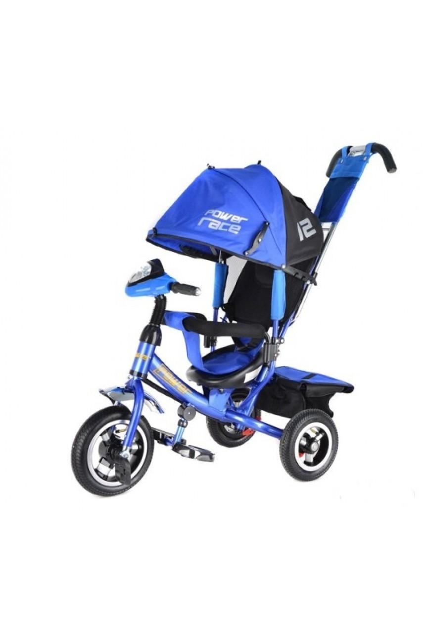 Детский трехколесный велосипед Power race JP7BR синий Надувные колеса