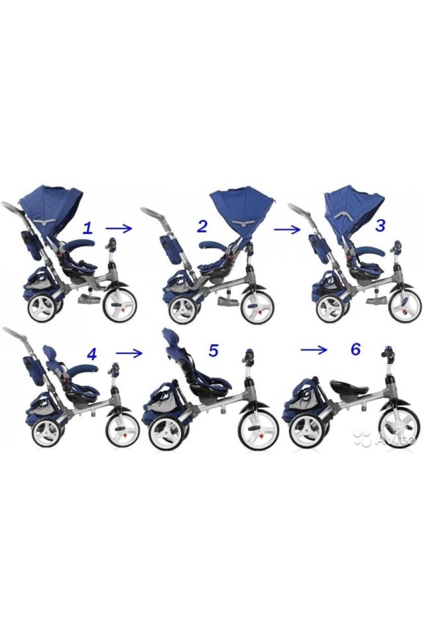 Детский трехколесный велосипед MODI NEO N2B с поворотным сиденьем надувные колеса СИНИЙ