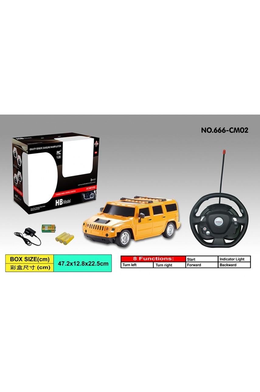 Машина Hummer на радиоуправлении с рулем желтый и красный