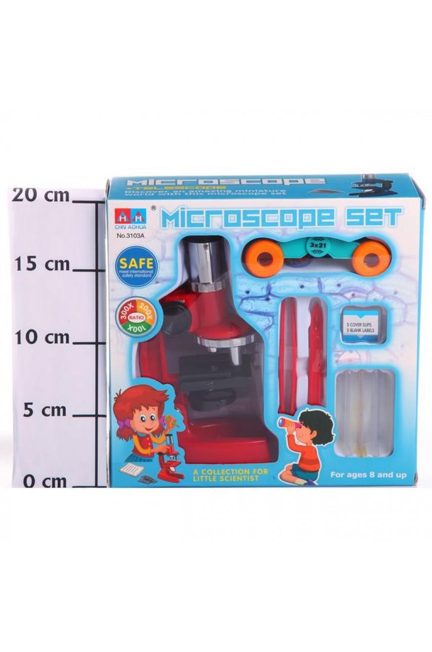 Детский микроскоп с биноклем. Увеличение до 300 крат, арт. 3103А