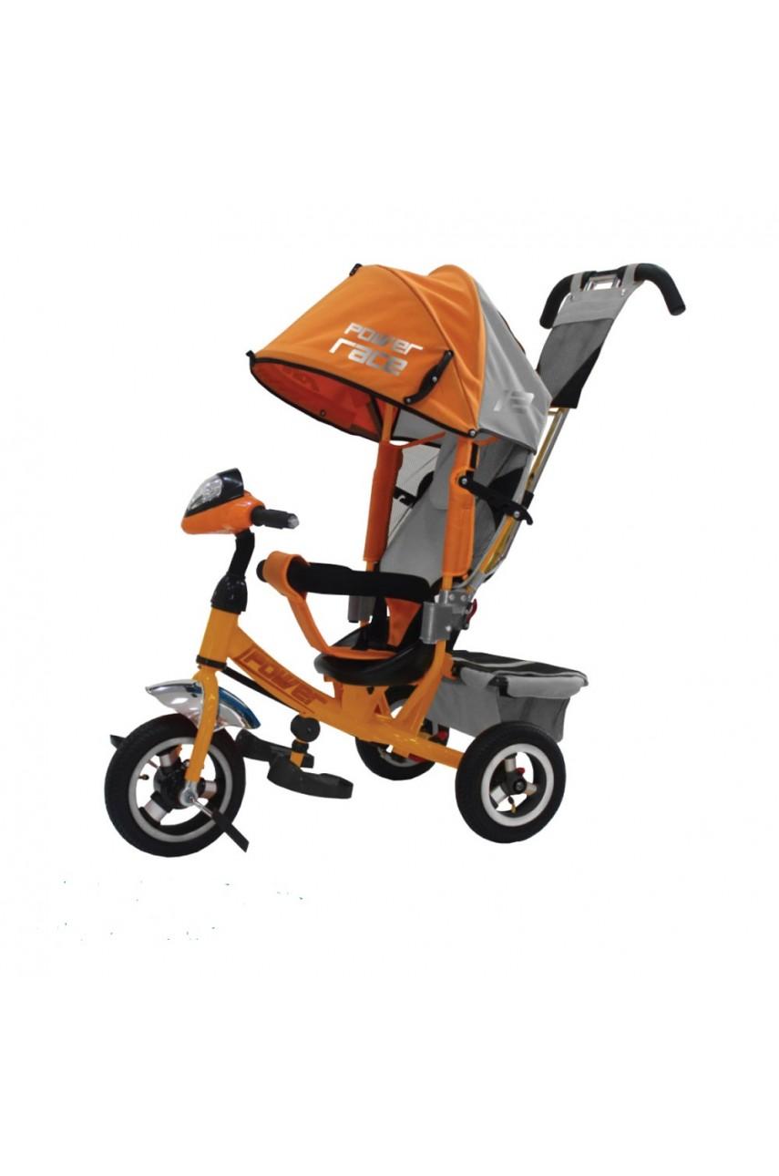 Детский трехколесный велосипед Power race JP7YR оранжевый Надувные колеса