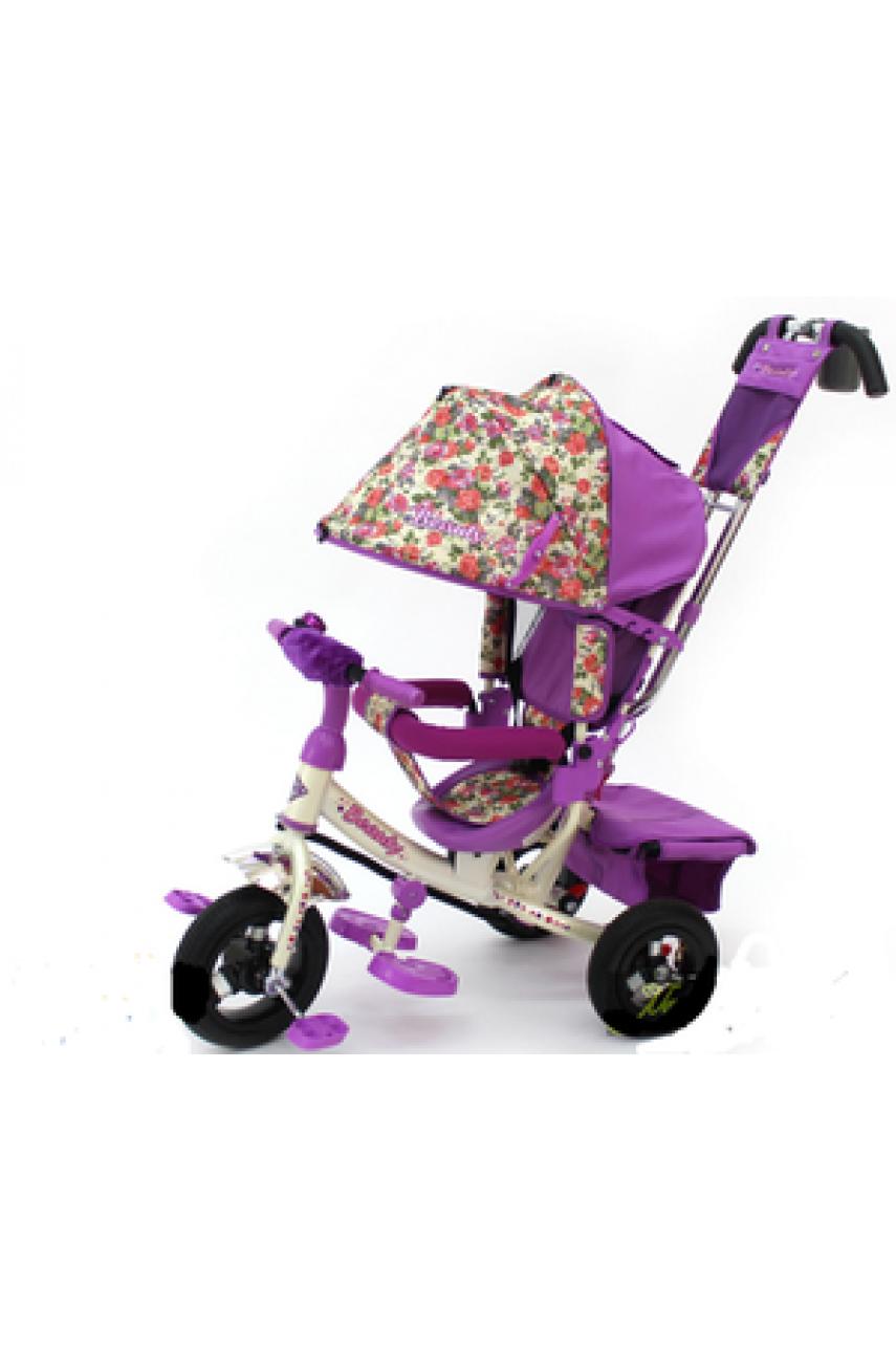 Детский трехколесный велосипед Trike Beaty BA2F фиолетовый с надувными колесами