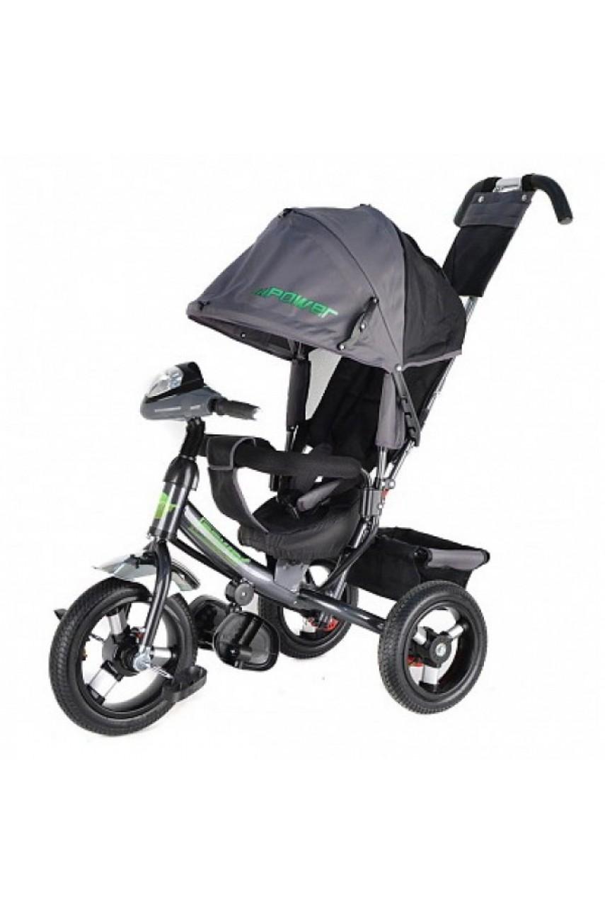 Детский трехколесный велосипед Trike Power Race JP7LG с надувными колесами серый
