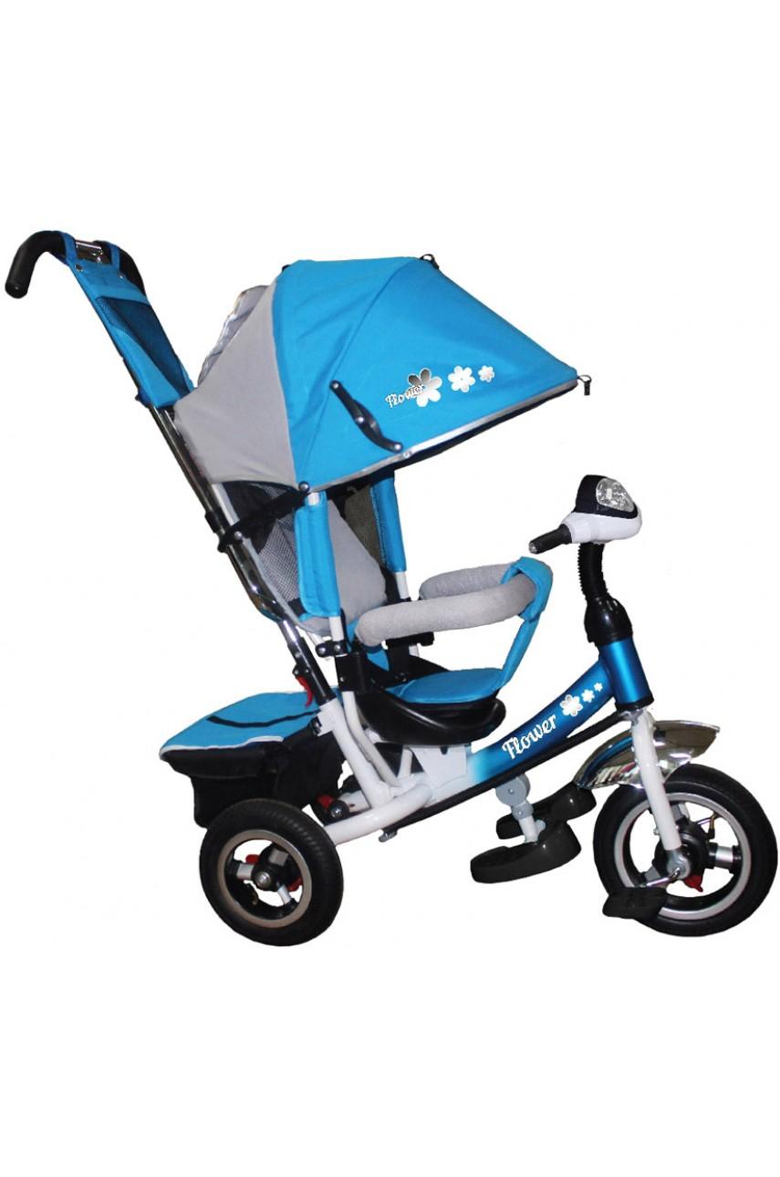 Детский трехколесный велосипед Trike Flower JF7BR с надувными колесами голубой