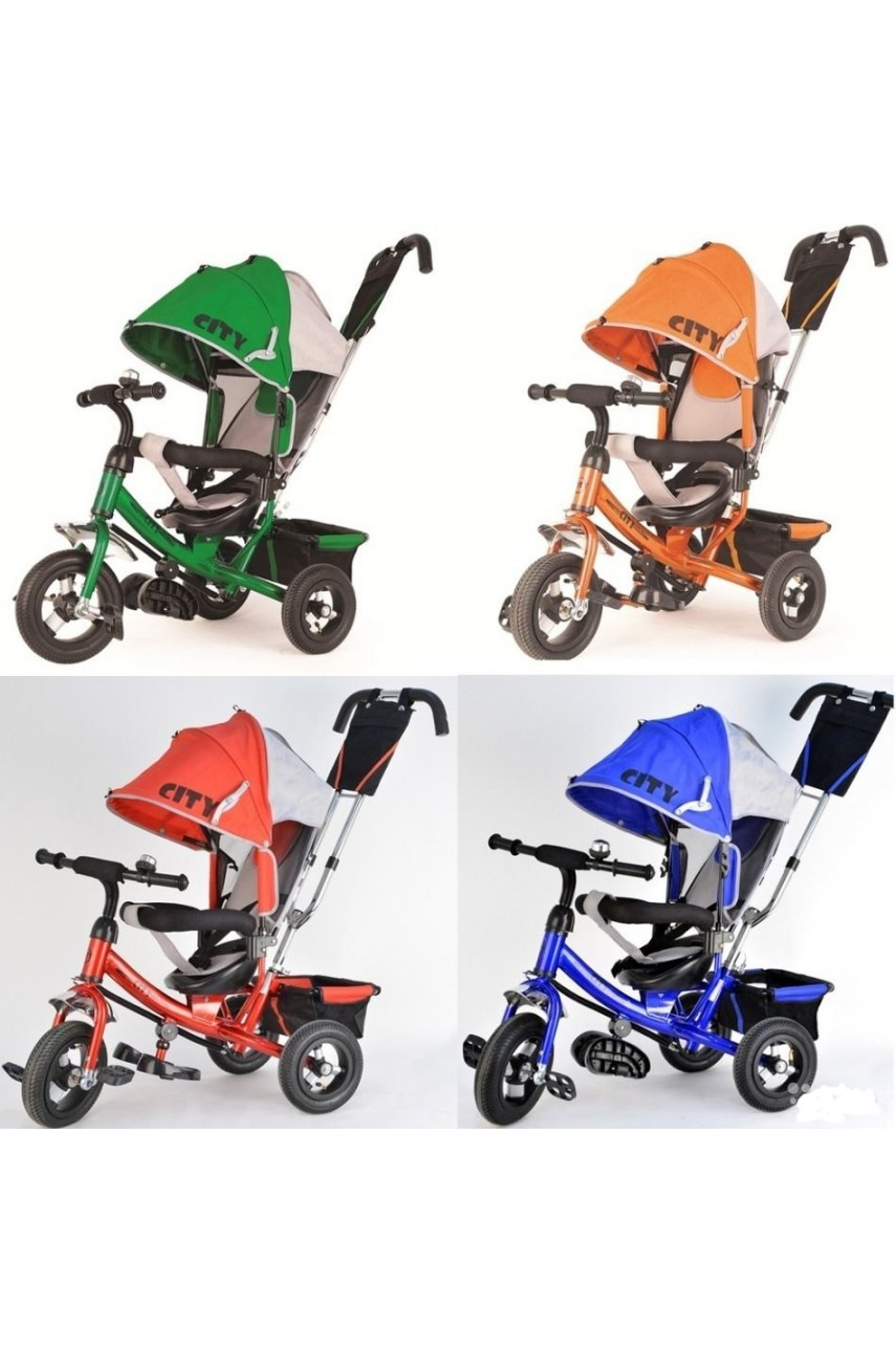 Детский трехколесный велосипед Trike City 5588-12-10 НАДУВНЫЕ колеса 12 и 10 дюймов  КРАСНЫЙ,СИНИЙ,ОРАНЖЕВЫЙ