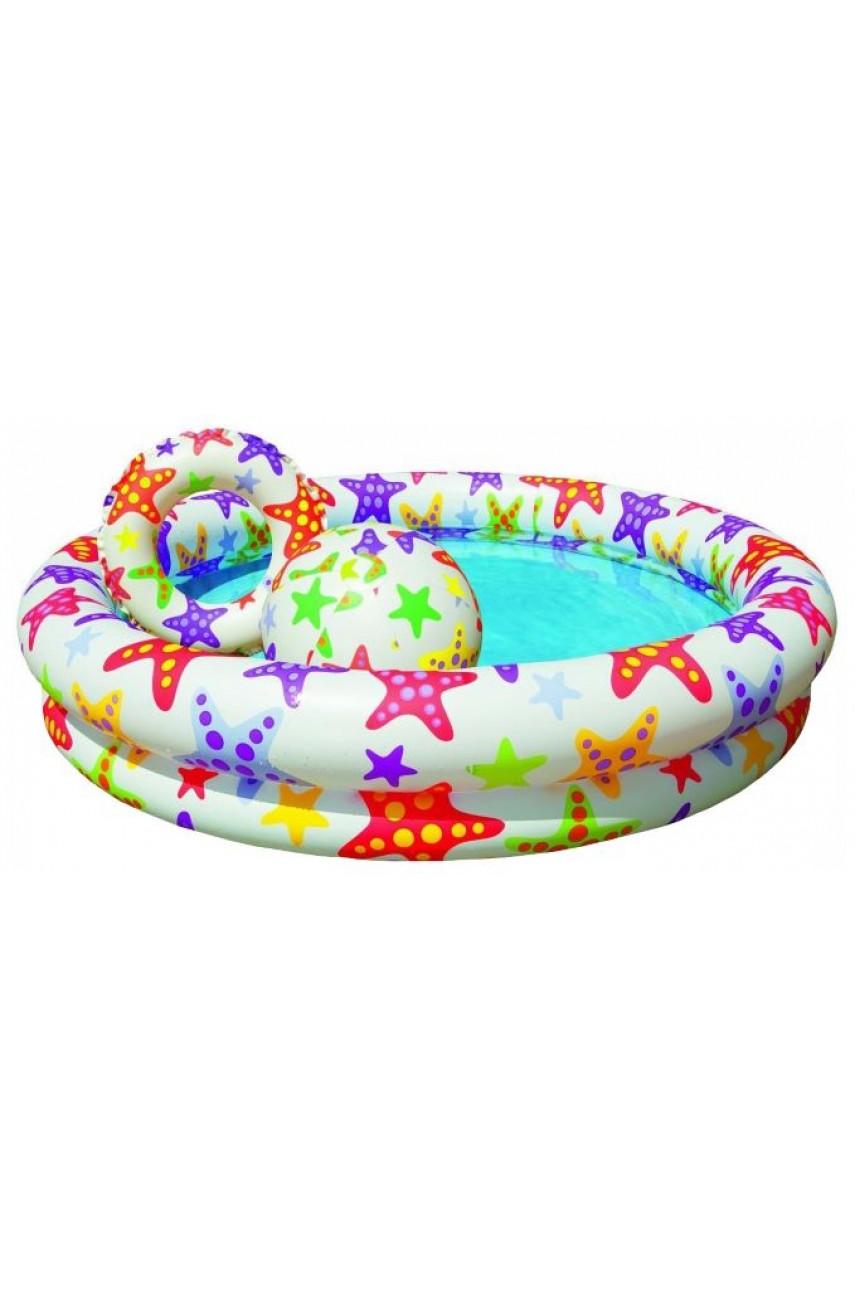 Бассейн Интекс Морские звезды 59460 круг,мяч