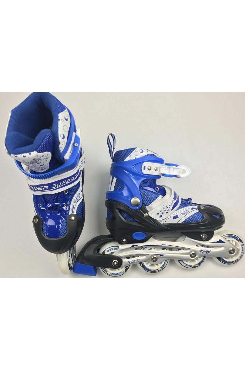 Детские роликовые коньки Power SuperB размер 35 - 38 цвет синий