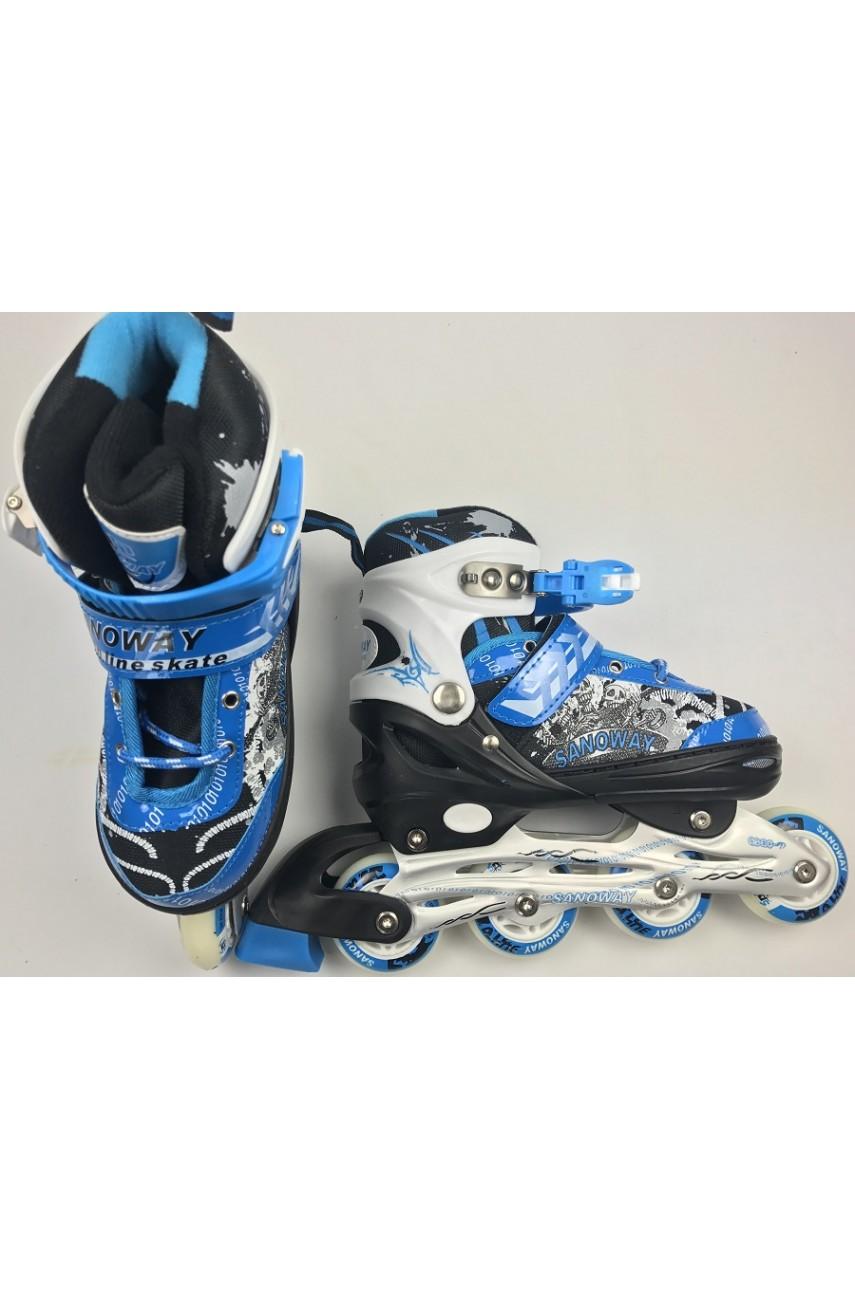 Детские роликовые коньки Sanoway размер 32-35, 36-39 цвет синий