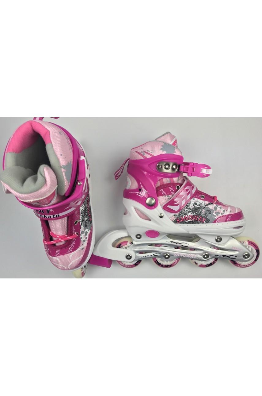 Детские роликовые коньки Sanoway размер 32-35 цвет розовый