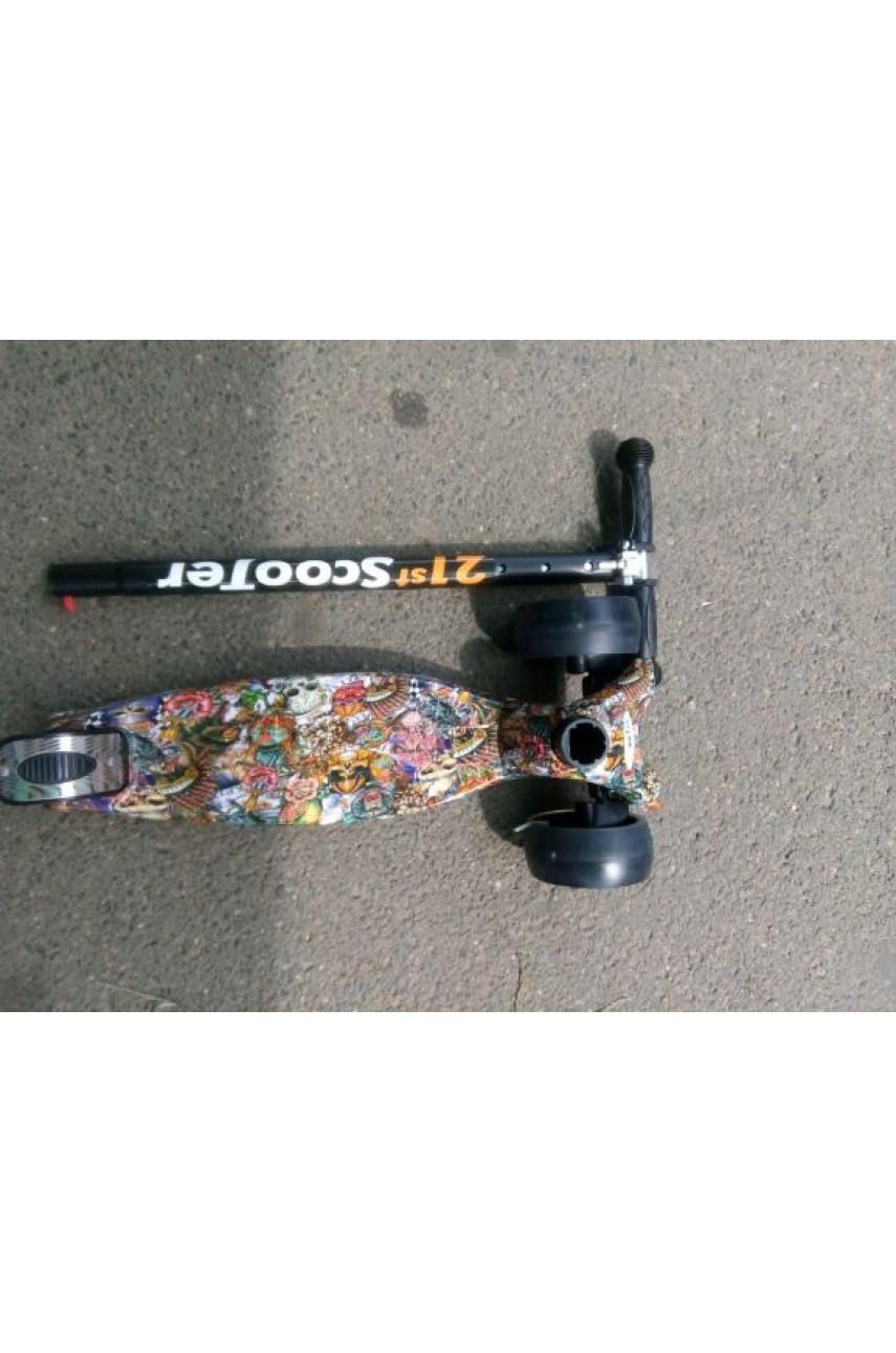 Детский трехколесный самокат 21 st scooter maxi принт широкие колеса
