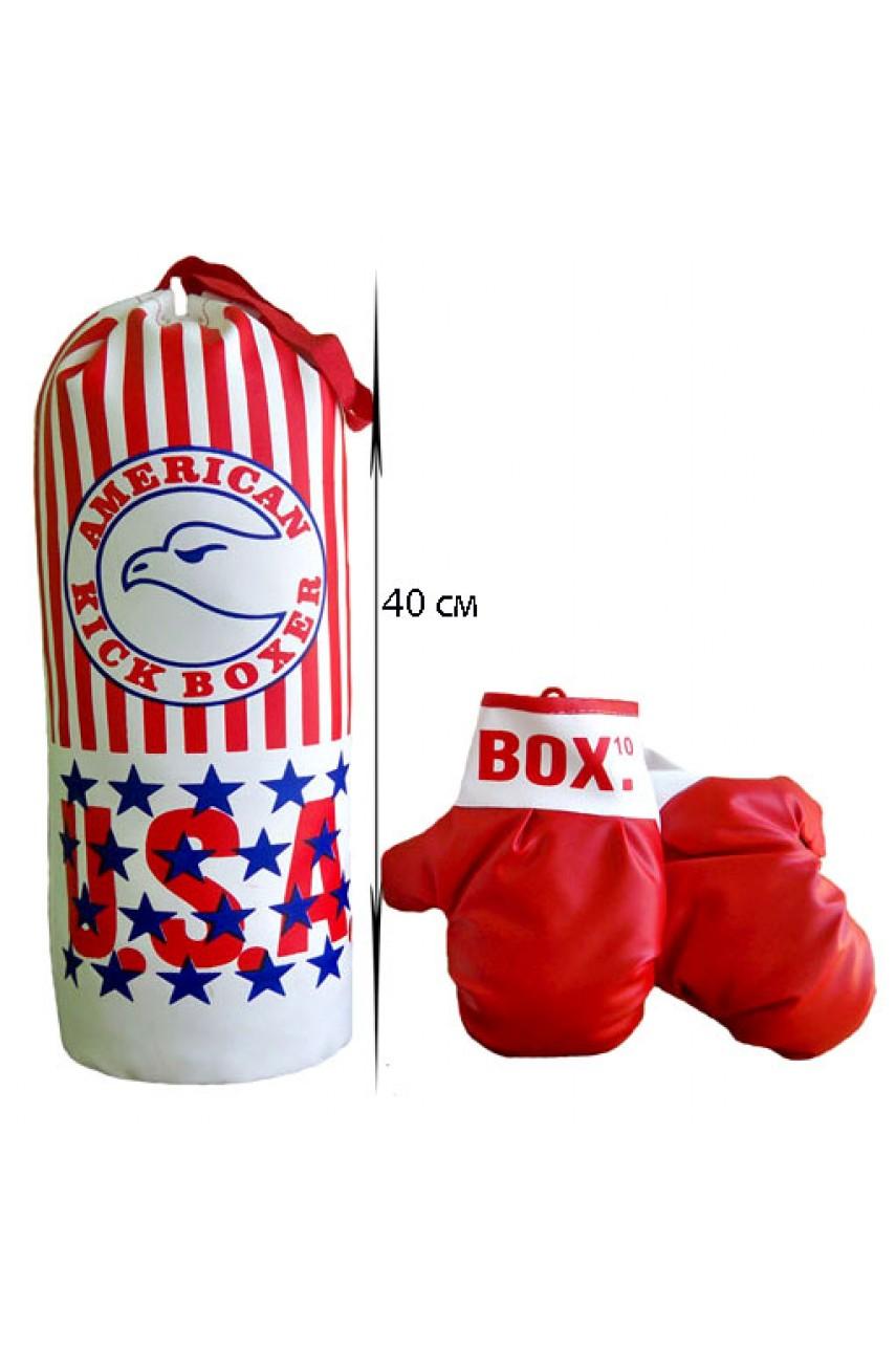 Детская боксерская груша и перчатки (набор для бокса), высота груши 40 см