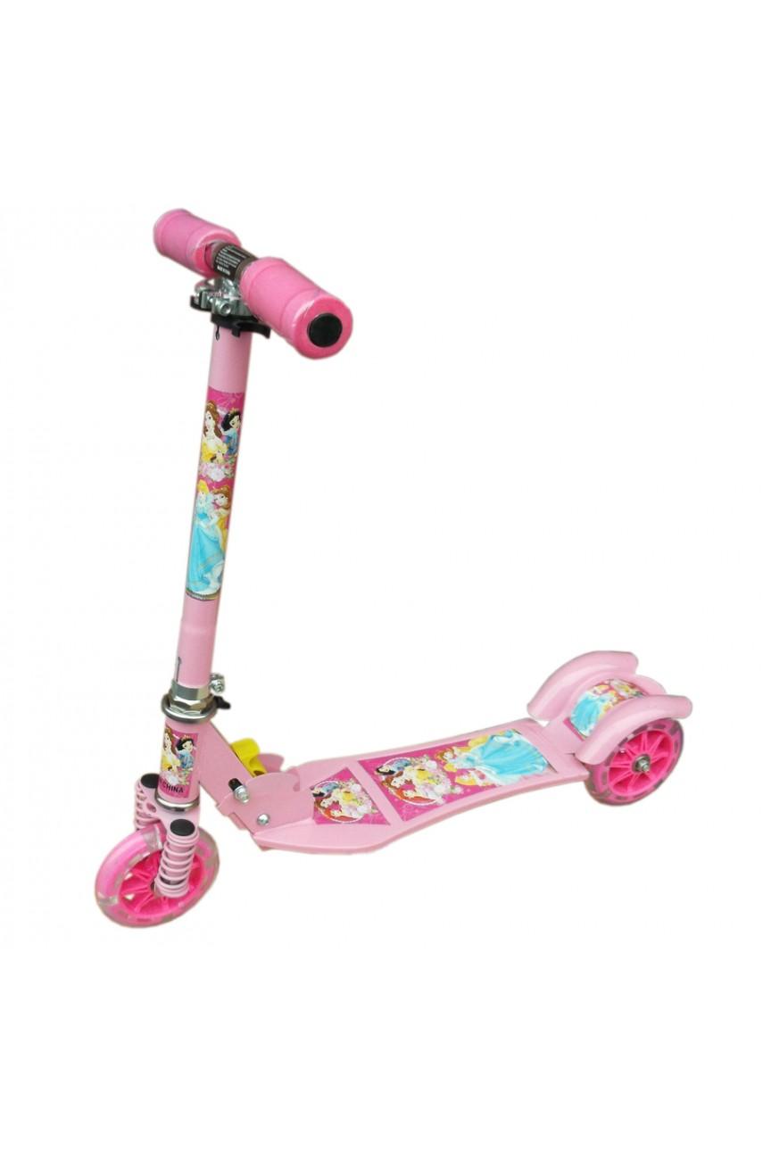 Детский самокат трёхколёсный Folding Scooter Принцессы Дисней