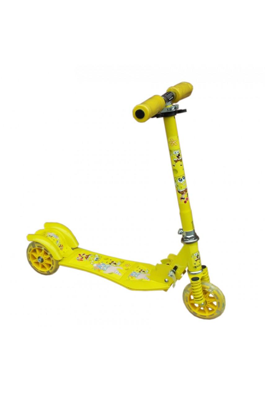 Детский самокат трёхколёсный Folding Scooter Спанч Боб