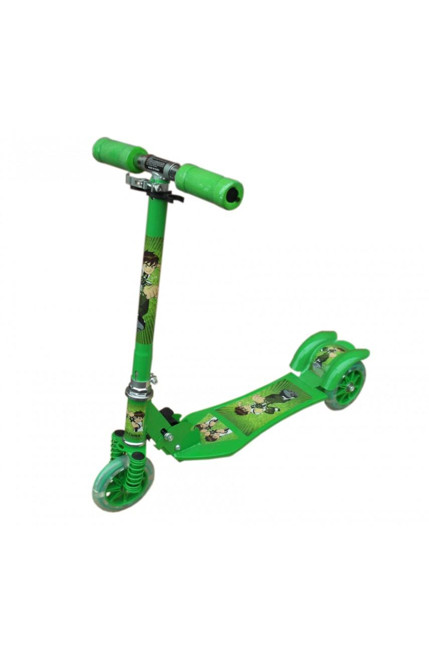 Детский самокат трёхколёсный Folding Scooter зелёный