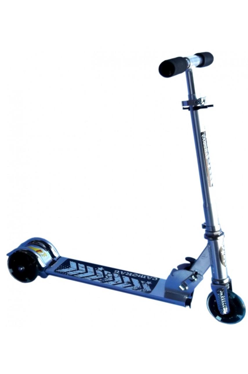 Детский самокат трёхколёсный скоростной серебристый