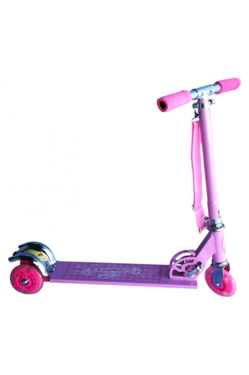 Детский самокат трёхколёсный скоростной розовый
