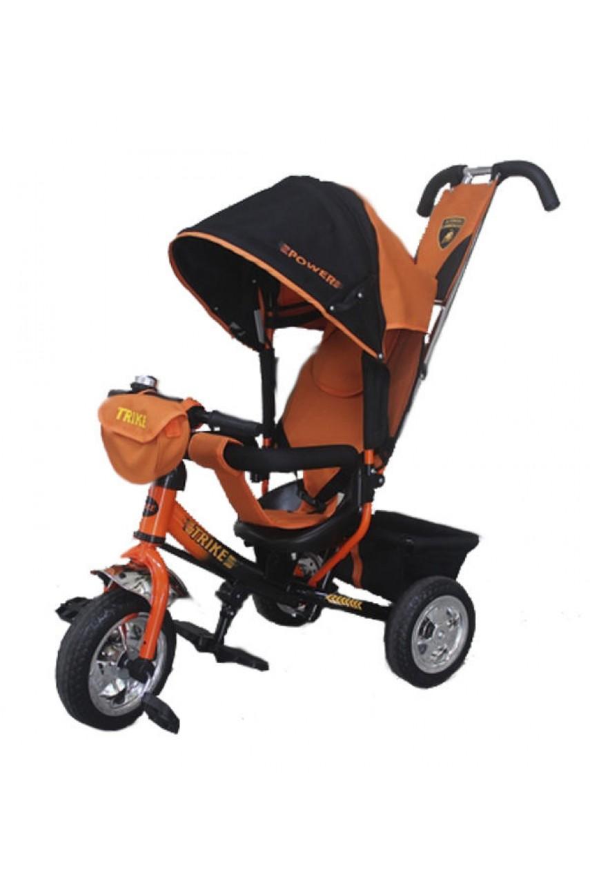 Детский трёхколёсный велосипед Trike Power надувные колёса оранжевый