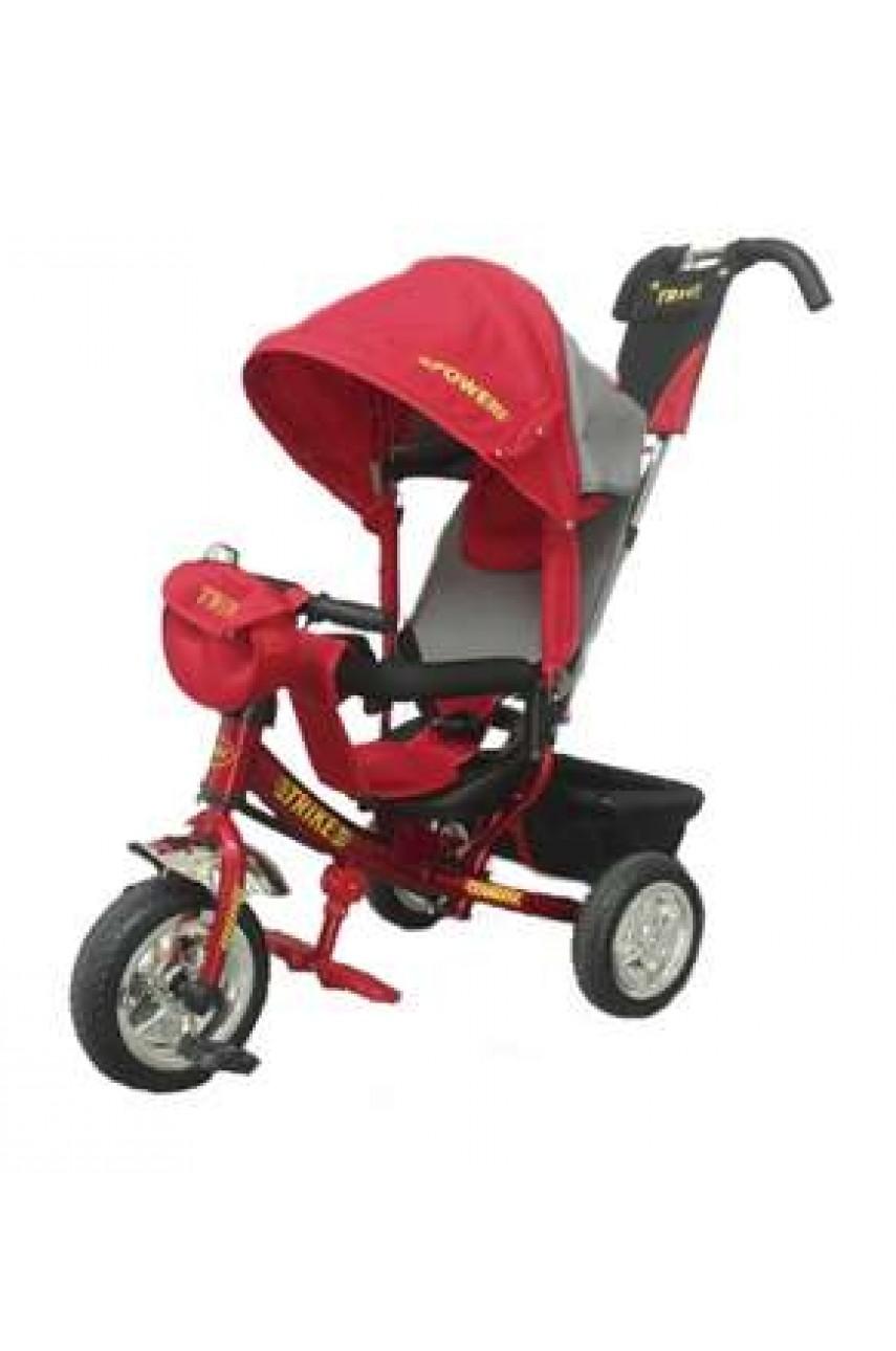 Детский трёхколёсный велосипед Trike Power надувные колёса красный