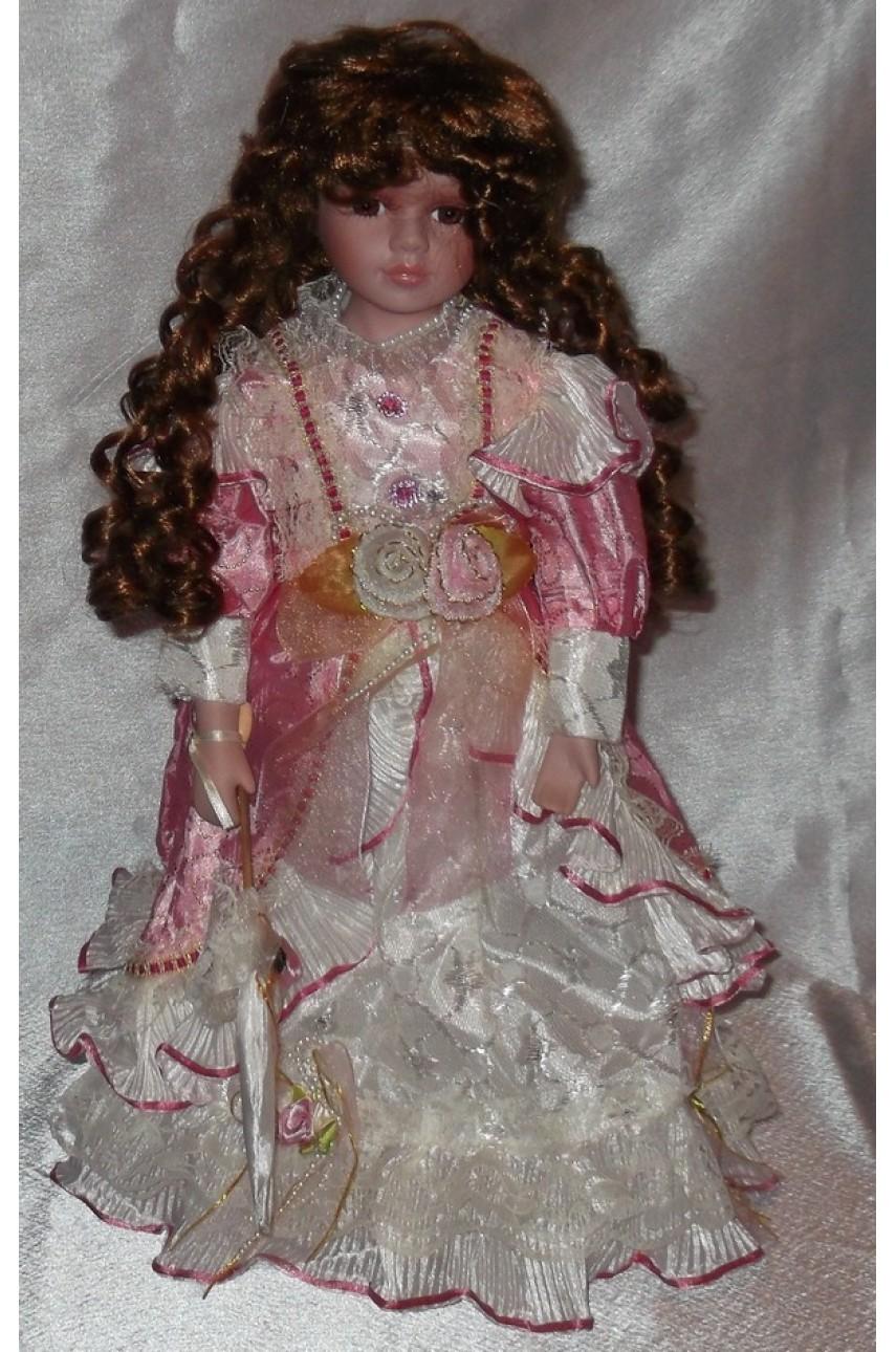 Кукла фарфоровая в бальном платье 40 см арт.16195