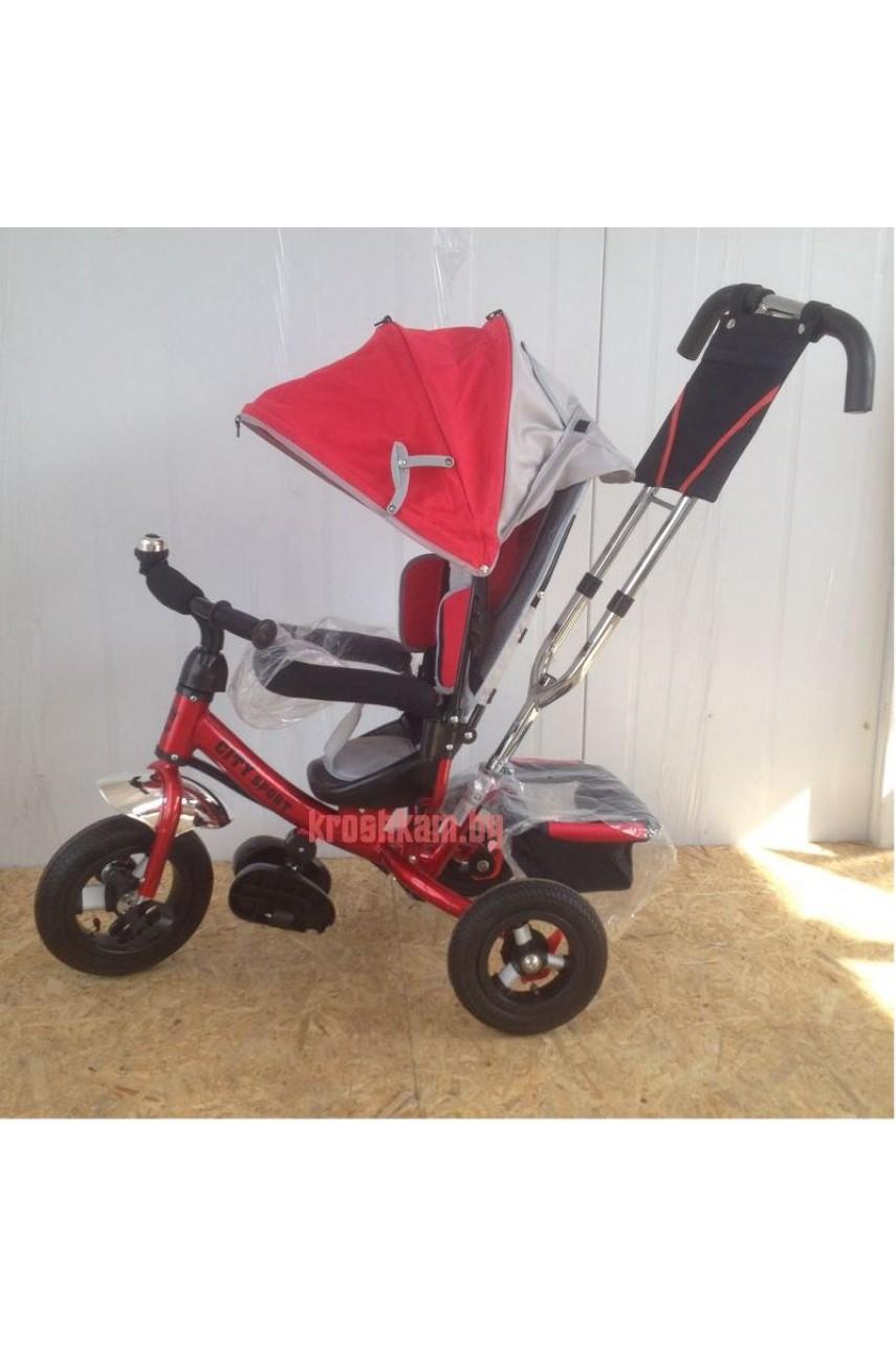 Детский трехколесный велосипед Trike City 5588-10-8 надувные колеса красный