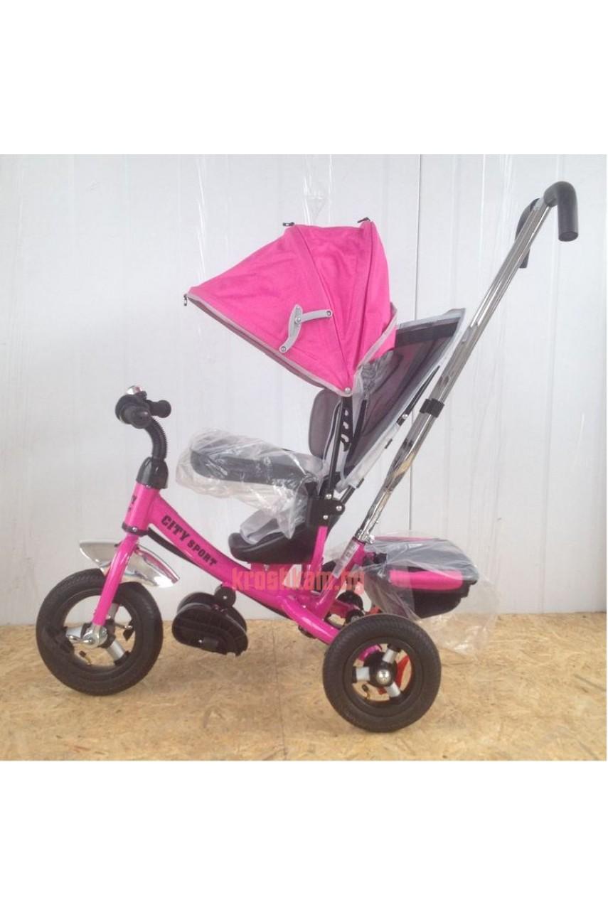 Детский трехколесный велосипед Trike City 5588А надувные колеса розовый