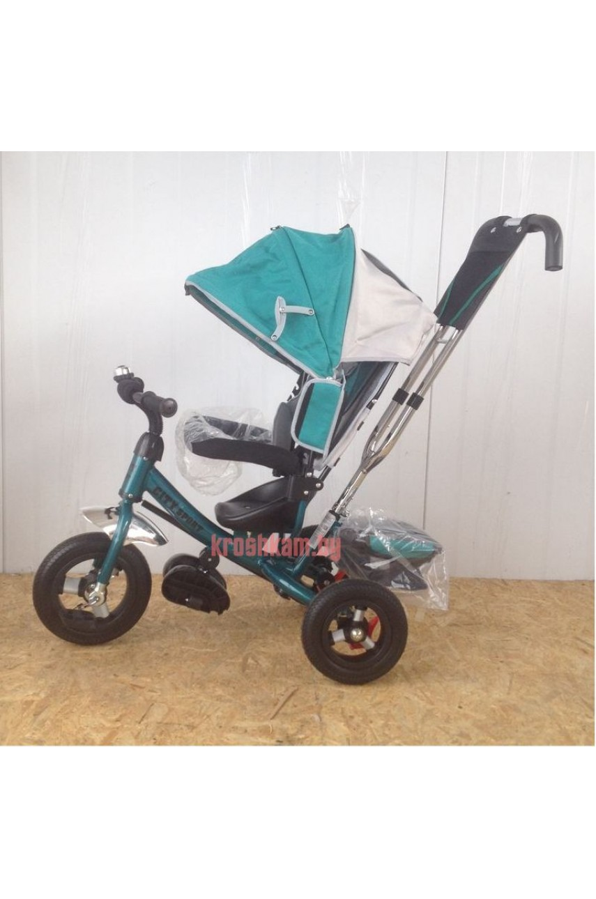 Детский трехколесный велосипед Trike City 5588A надувные колеса зеленый