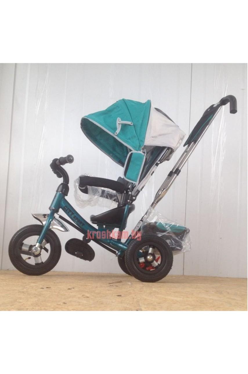 Детский трехколесный велосипед Trike City 5588-10-8 надувные колеса синий