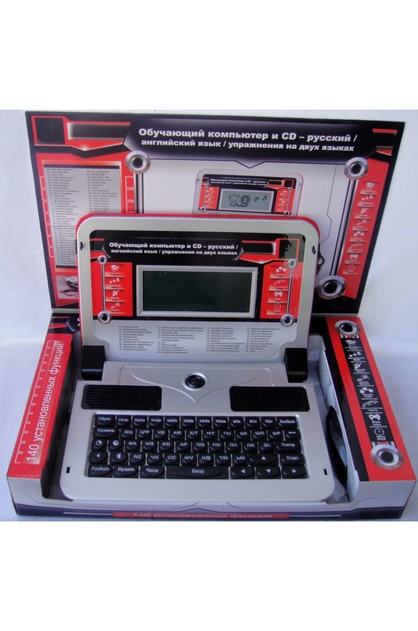 Детский компьютер обучающий 140 функций, красно-серебристый