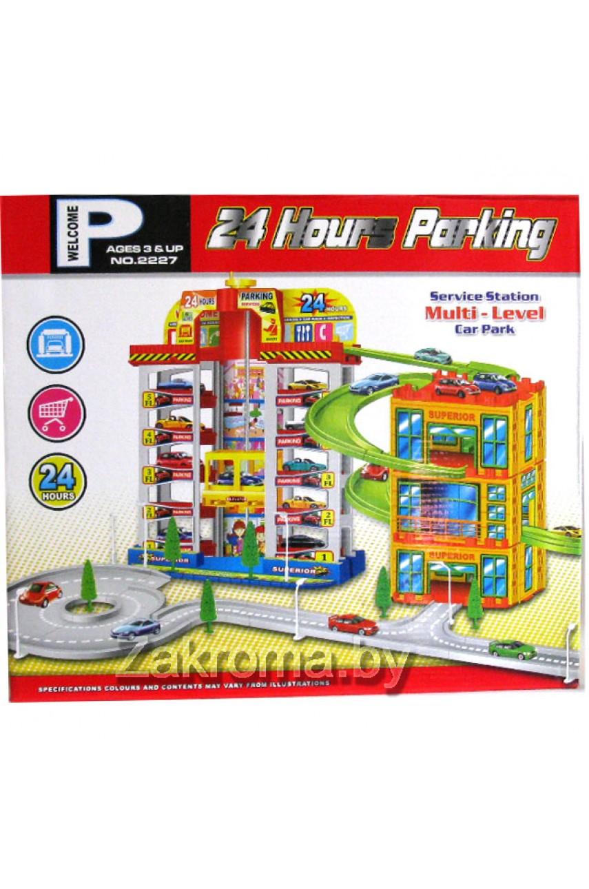 """Детский гараж-паркинг 24 часа 2 в 1"""" 6 уровневый"""