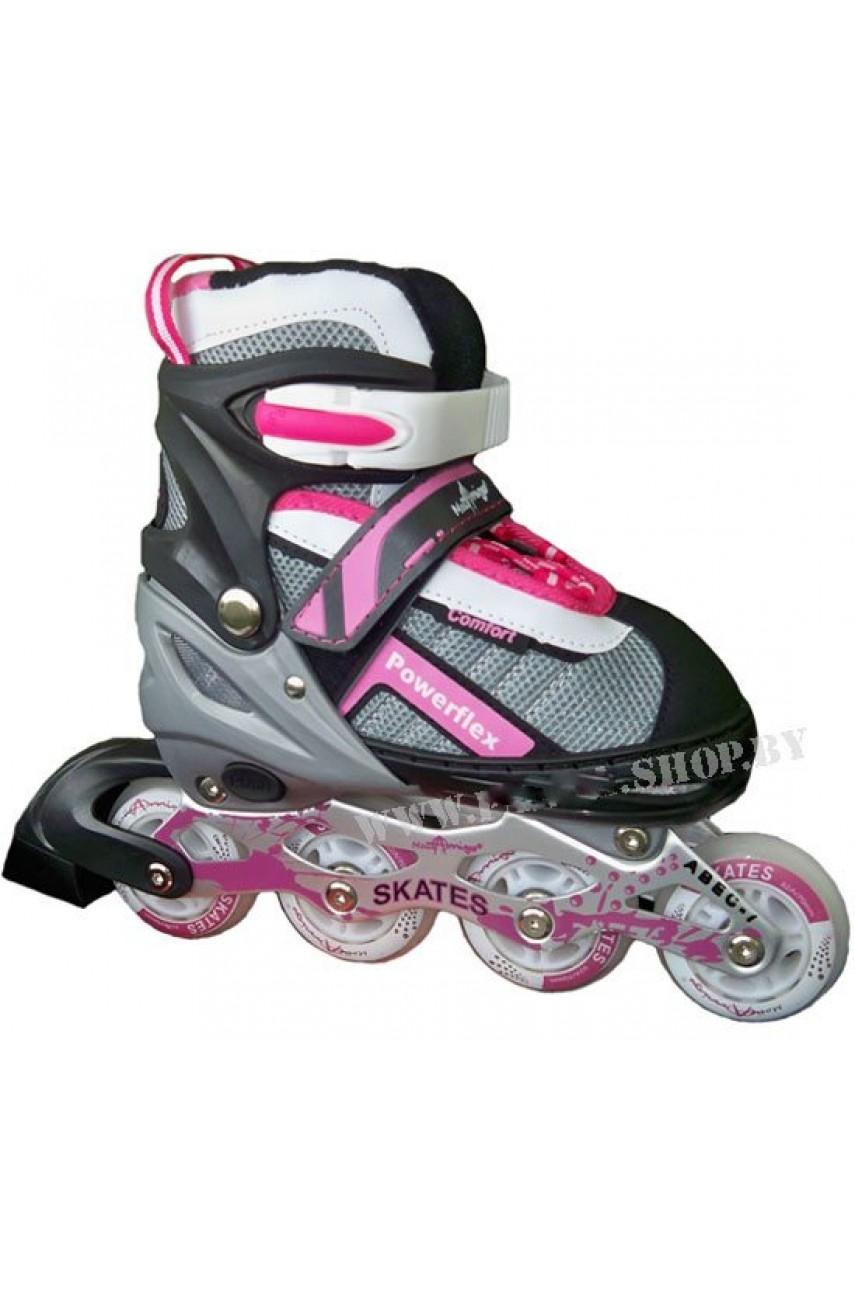 Детские роликовые коньки Powerflex Comfort размеры 30-33 цвет розовый