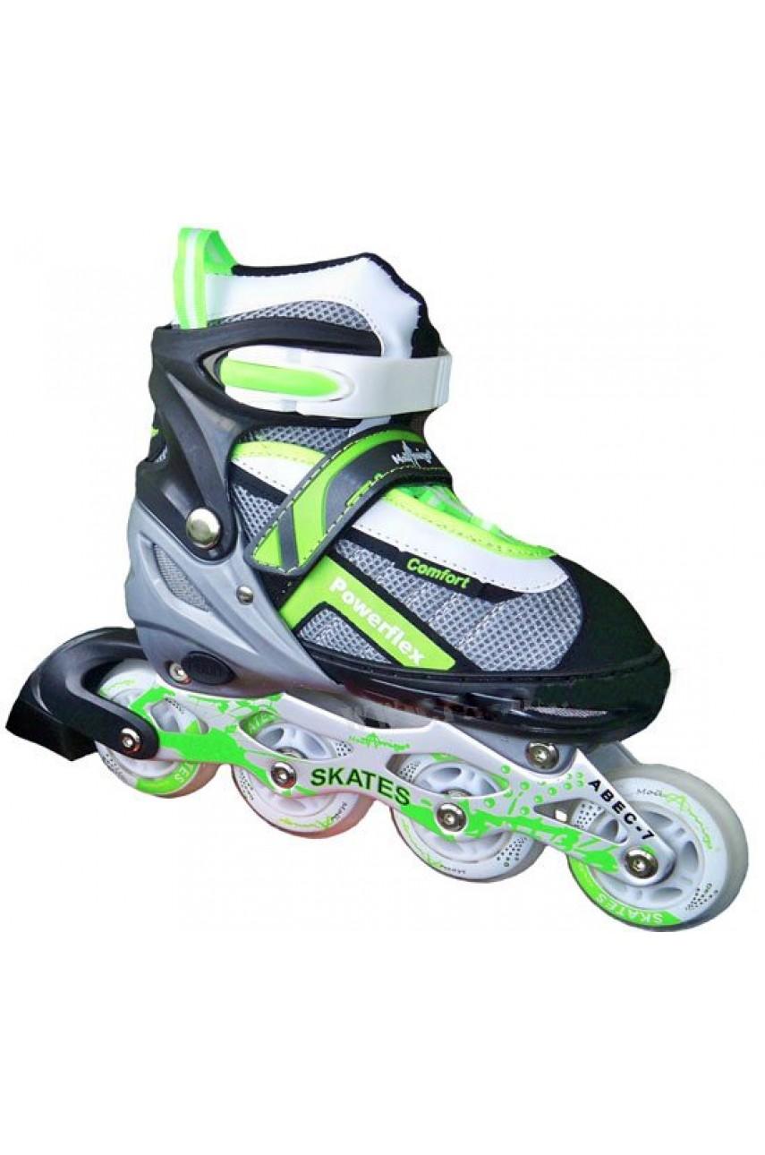 Детские роликовые коньки Powerflex Comfort размеры 30-33 цвет салатовый