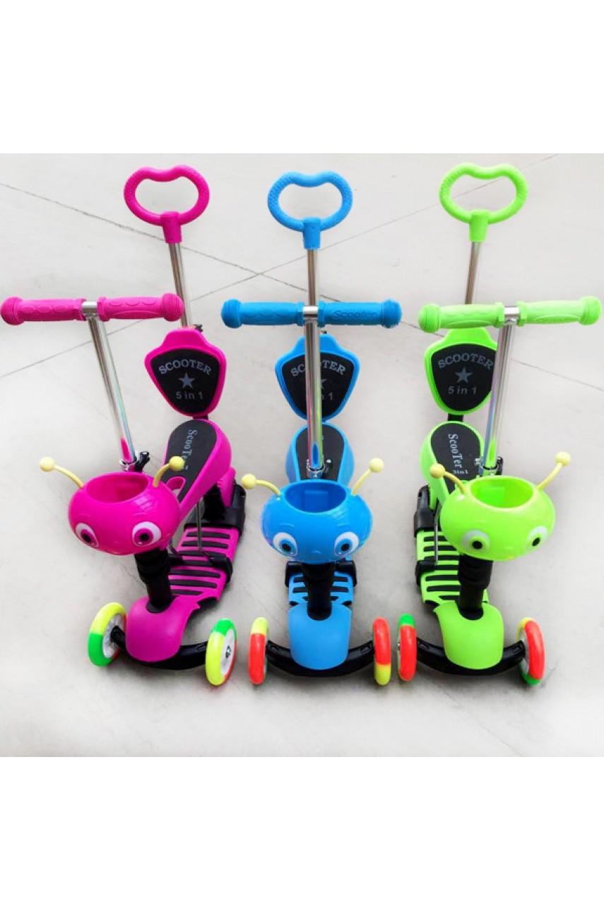 Детский трехколесный самокат-беговел с родительской ручкой SCOOTER 5 в 1 цветные колеса
