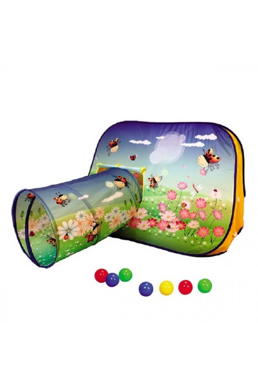 Игровая палатка с тоннелем и набором шаров Цветочная поляна 813