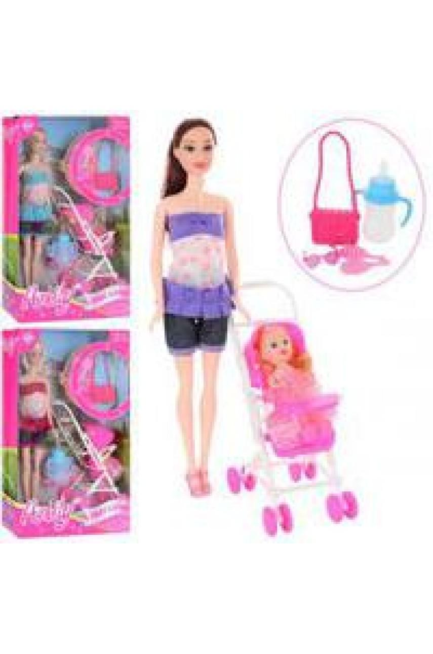 Кукла Анлили с дочкой в коляске 99064