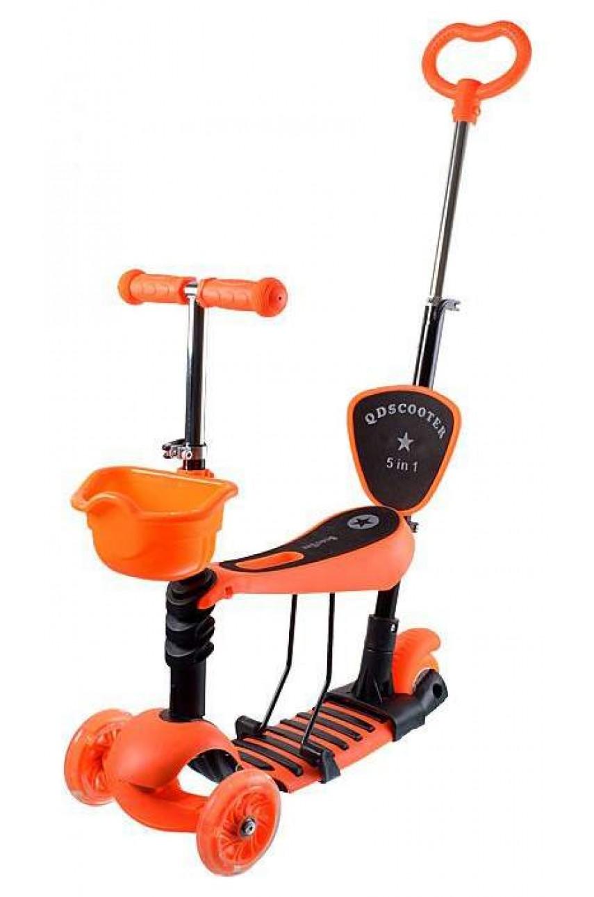 Детский самокат 5в1 с родительской ручкой оранжевый