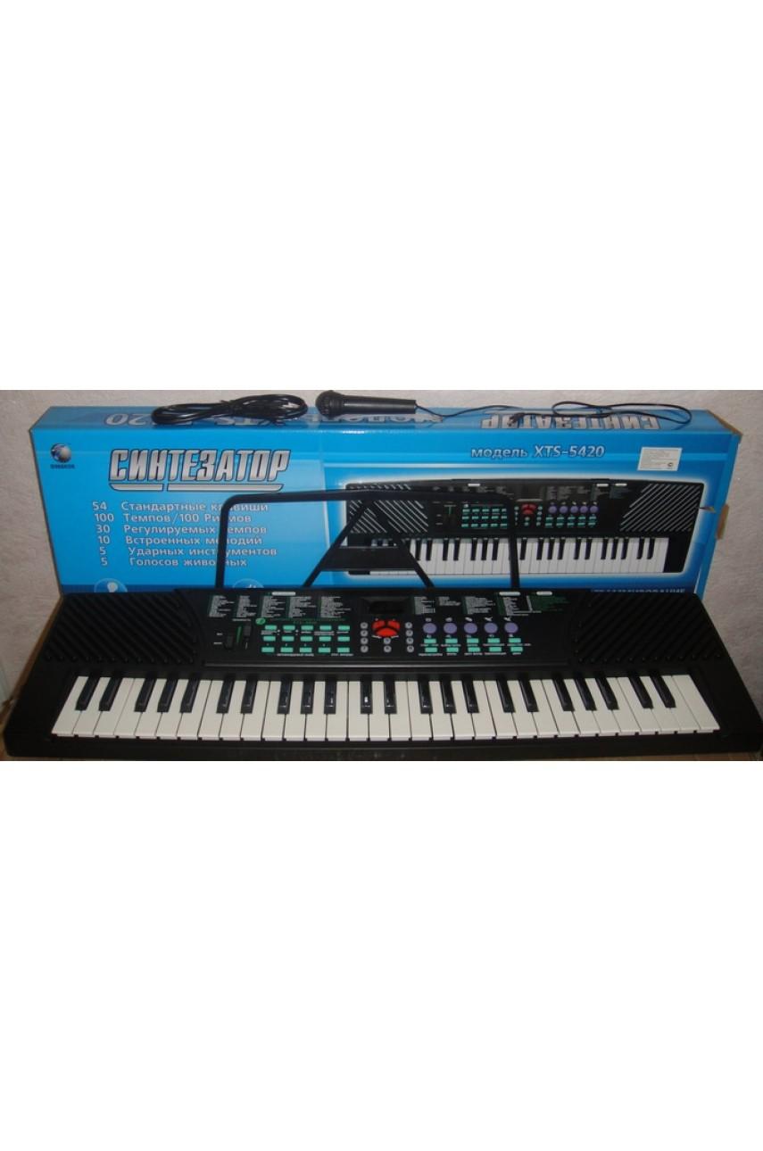 Детский синтезатор пианино XTS-5420 с микрофоном и подставкой для нот