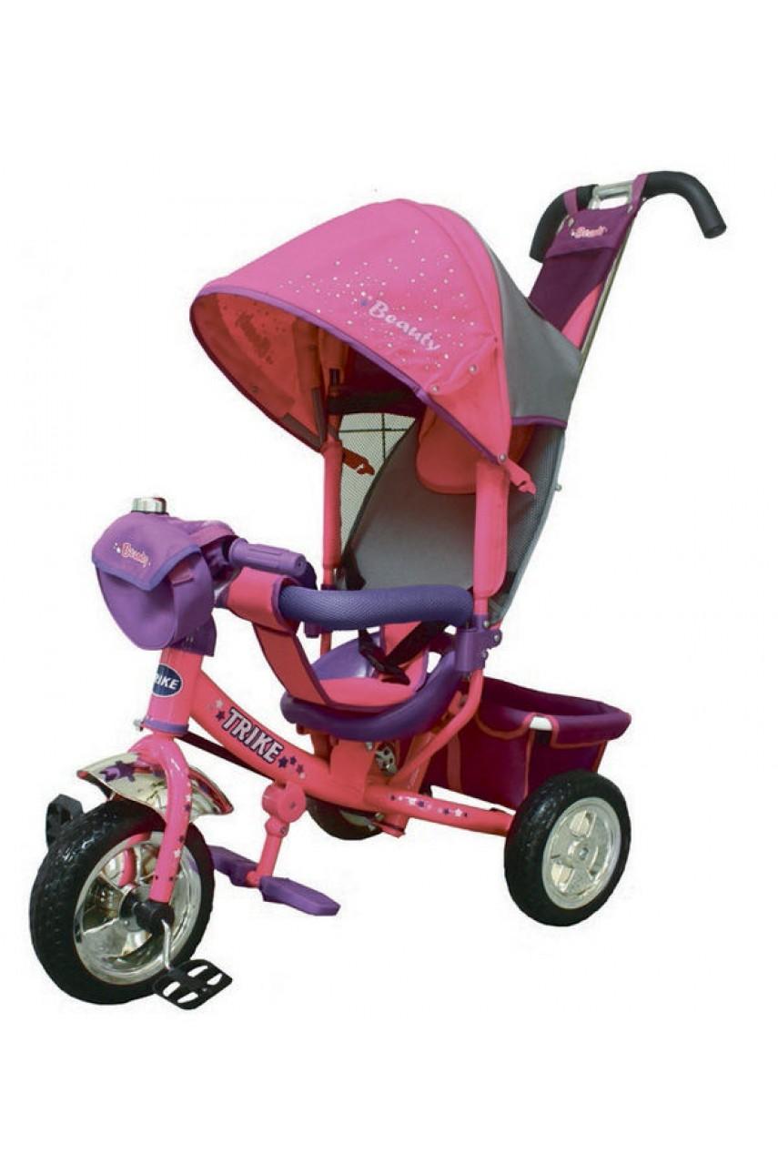 Детский трёхколёсный велосипед Trike Beauty надувные колёса малиновый