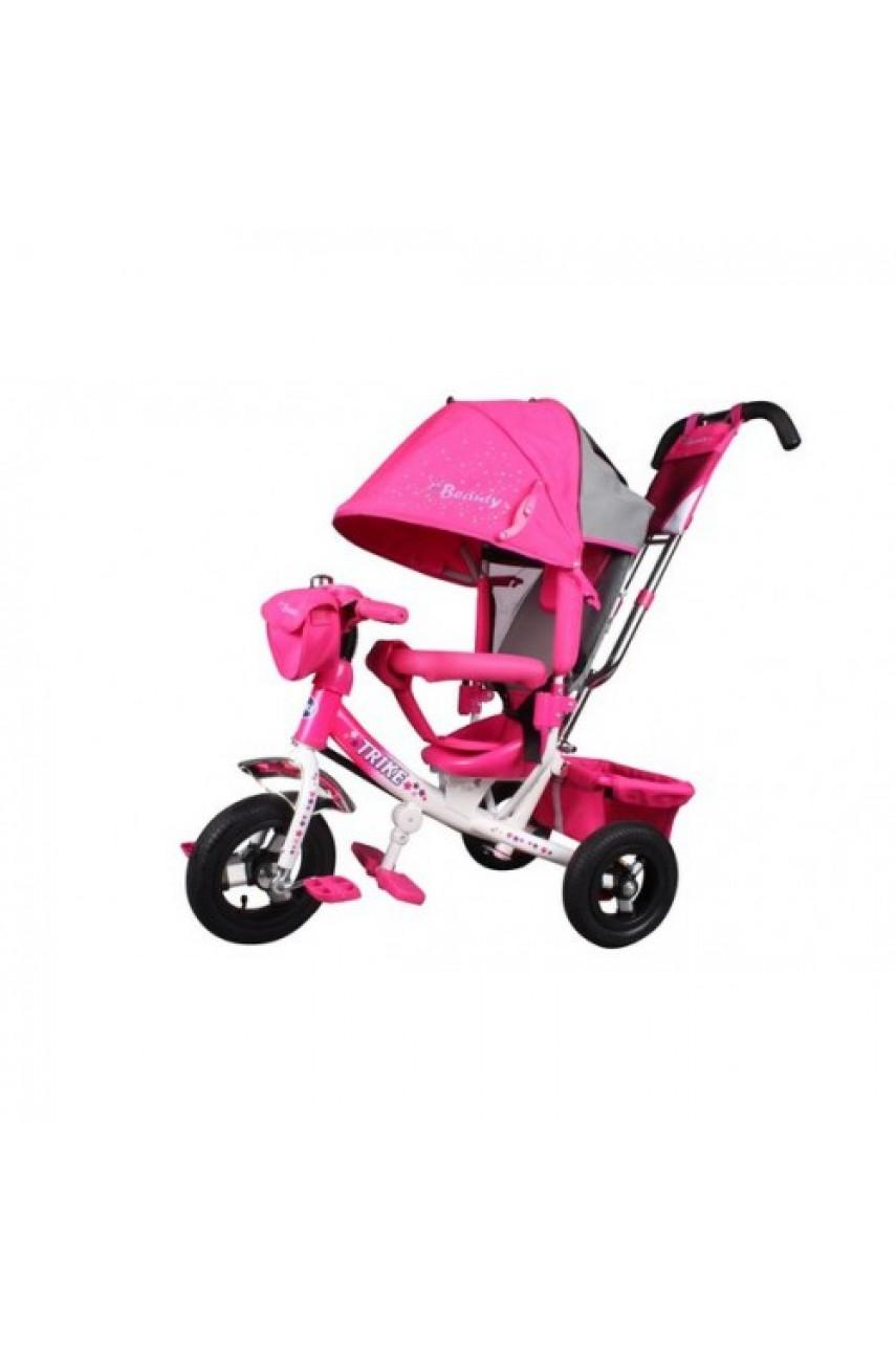 Детский трёхколёсный велосипед Trike Beauty надувные колёса розовый