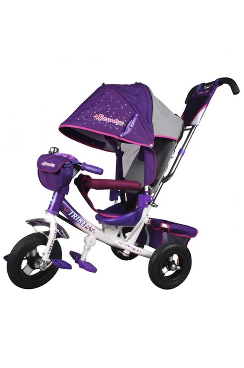 Детский трёхколёсный велосипед Trike Beauty надувные колёса фиолетовый