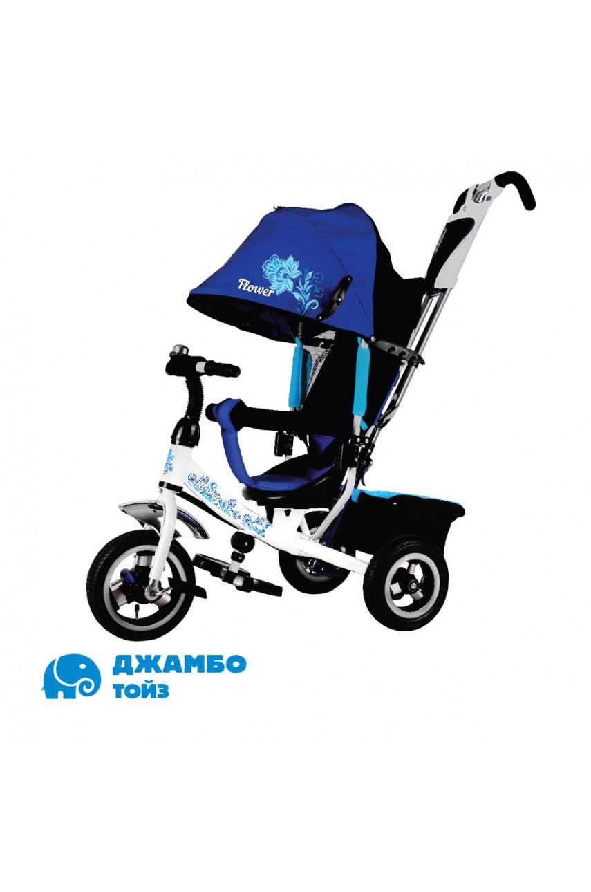 Детский трехколесный велосипед Flower JF7W бело-синий Надувные колеса