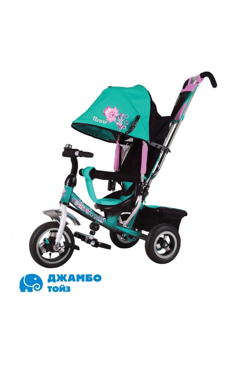 Детский трехколесный велосипед Flower JF7T бирюзовый Надувные колеса