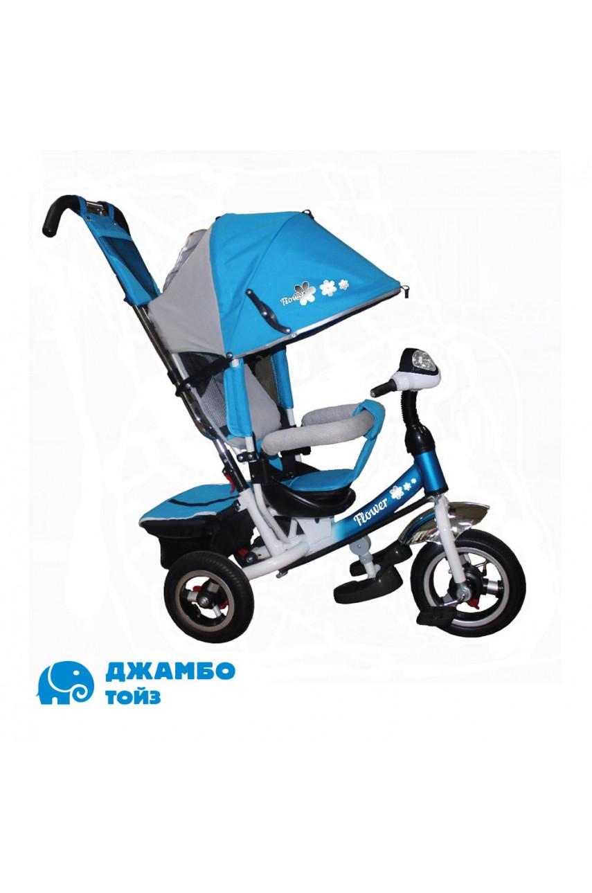 Детский трехколесный велосипед Flower JF7BR голубой Надувные колеса