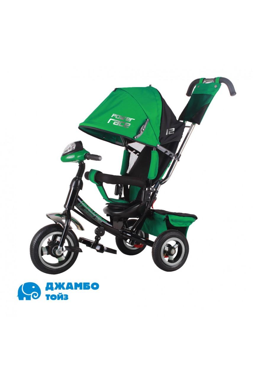 Детский трехколесный велосипед Power race JP7GR зеленый Надувные колеса