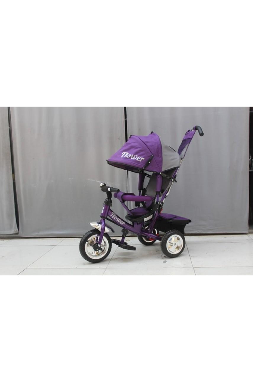 Детский трехколесный велосипед Trike Flower JF7DS фиолетовый ПВХ колеса