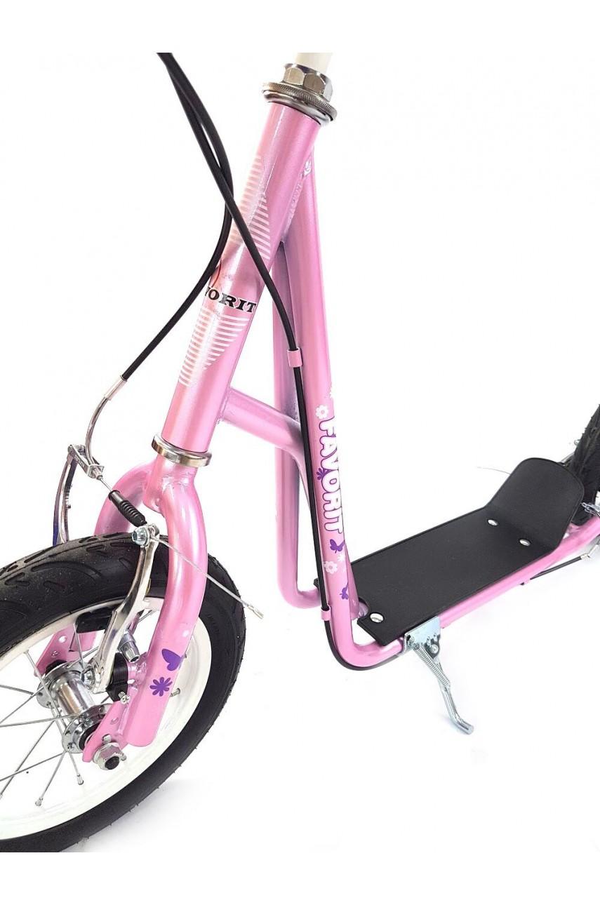 Двухколесный самокат с надувными колесами Favorit FSC-1203 розовый