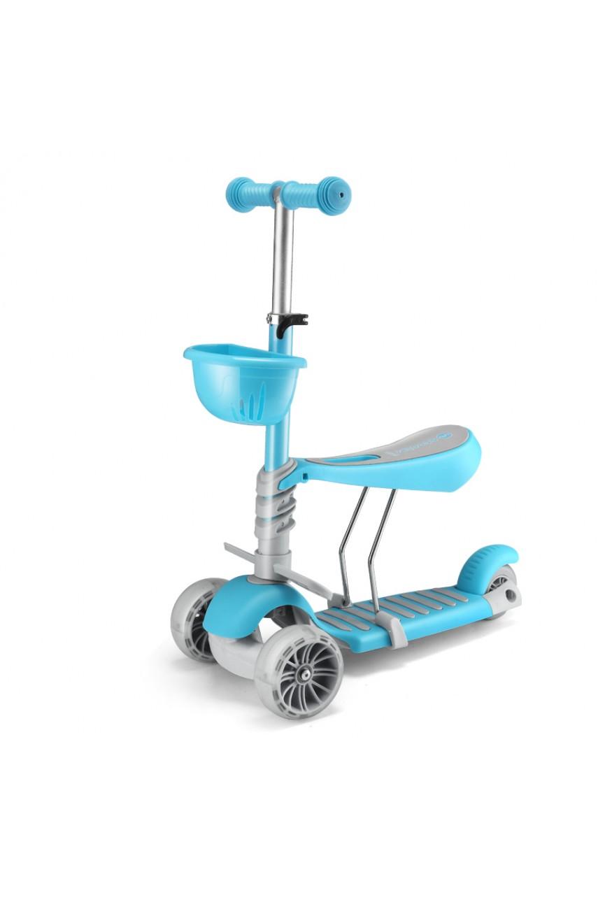 Детский трехколесный самокат 3в1 Scooter голубой